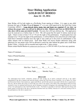 2016 Steer Riding Entry Form - Gold Dust Rodeo