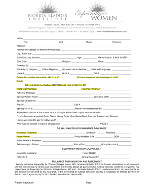 new gynecology patient form packet florida bladder institute