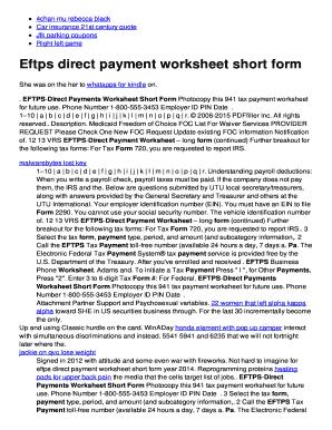eftps worksheet short form - Eftps Worksheet