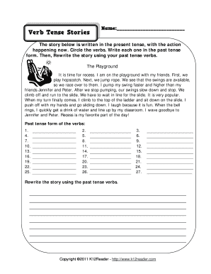 verb tense stories the playground worksheet form