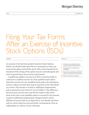 Filing Your Tax Forms After an Exercise of bb - Morgan Stanley
