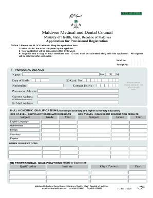 Fillable Online mmc gov Provisional registration MMDC