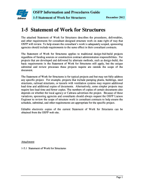 Statement of Work for Structures (PDF) - Caltrans - California - dot ca