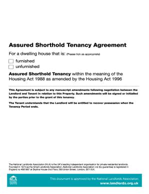 2016 2021 Form Uk Nla Assured Shorthold Tenancy Agreement Fill Online Printable Fillable Blank Pdffiller