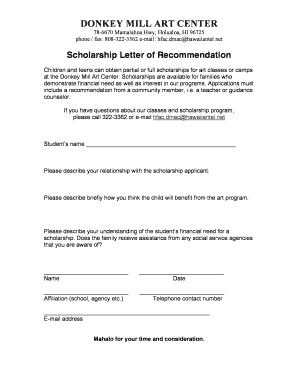 Scholarship Letter Re mendation Template Forms Fillable