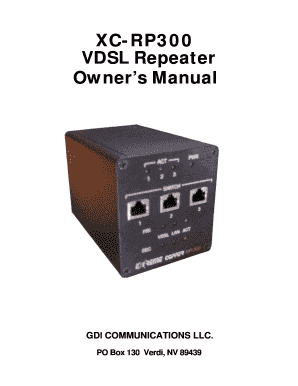 XC-RP300 VDSL Repeater Owners Manual