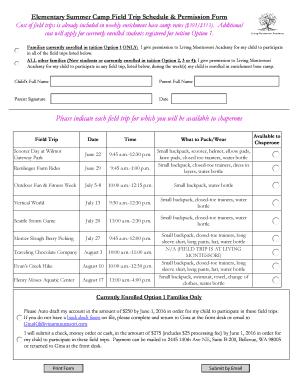 Elementary Summer Camp Field Trip Schedule & Fill Online