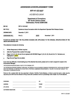 Fillable Online Addendum acknowledgement form rfp 11-dc-8337 bb