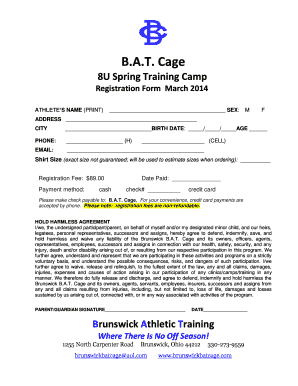 Cage 8U Spring Training Camp Registration Form March 2014 ATHLETES NAME (PRINT) SEX: M F ADDRESS CITY BIRTH DATE: / / AGE PHONE: (H) EMAIL: (CELL) Shirt Size (exact size not guaranteed