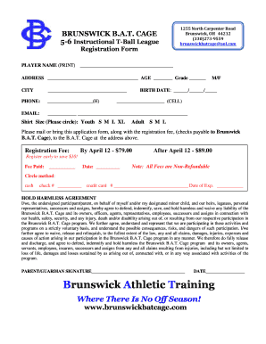 CAGE 56 Instructional TBall League Registration Form 1255 North Carpenter Road Brunswick, OH 44212 (330)2739559 brunswickbatcage aol