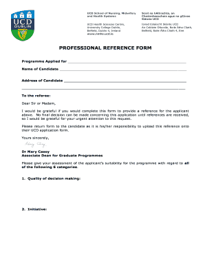 PROFESSIONAL REFERENCE FORM