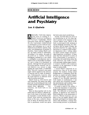 Fillable Online aaai Review of Artificial Intelligence and