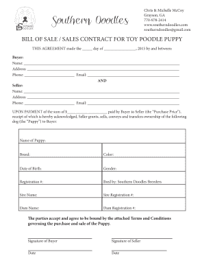Bill Of Sale For A Dog - Puppy Forms and Templates - Fillable ...