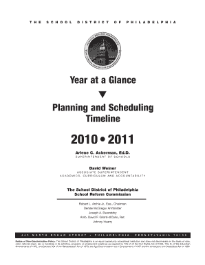Year at a Glance Planning and Scheduling Timeline