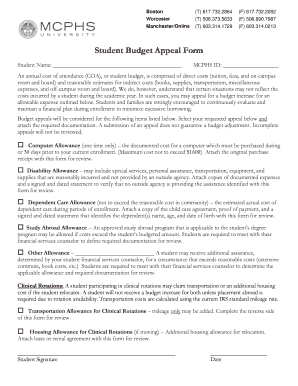 Student Budget bAppeal Formb - my mcphs