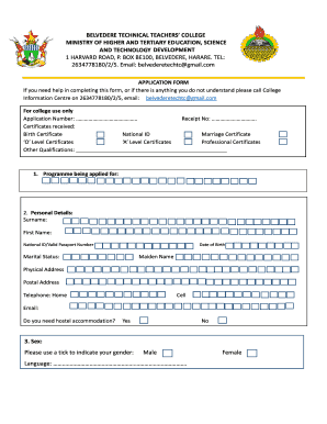 belvedere teachers college applications form