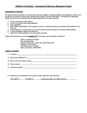 Printable affidavit of domicile form samples to submit online affidavit of domicile connecticut veterinary education project thecheapjerseys Gallery