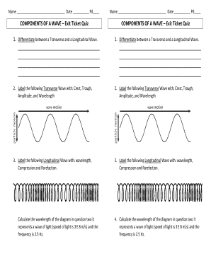 Fillable Online components of a wave exit ticket quiz form ...