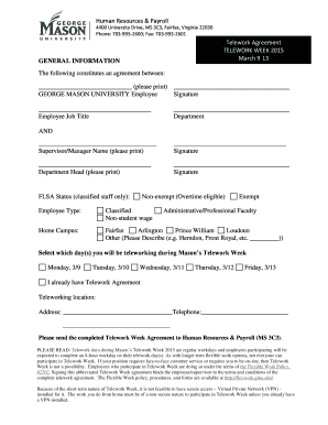 on telework application form