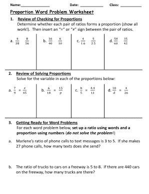Fillable online proportion word problem worksheet fill online ibookread Read Online