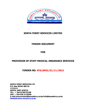 Fillable Online Kenya Ferry Services Limited Tender Document For