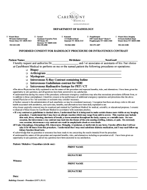 consent for radiology procedures - Forms & Document Templates to