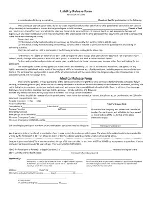 Liability Release Form Medical Release Form - GA16 - ga16