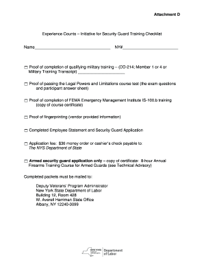 Fillable Online Labor Ny Security Guard Application Packet Checklist
