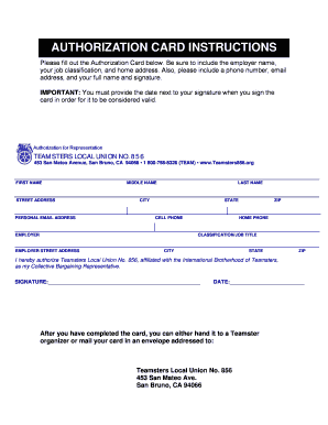 Fillable Online teamsters856 AUTHORIZATION CARD INSTRUCTIONS