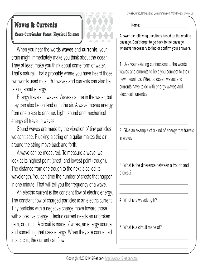 - Fillable Online CrossCurricular Reading Comprehension Worksheets