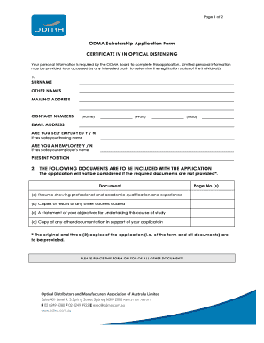 BODMAb Scholarship Application Form CERTIFICATE IV IN