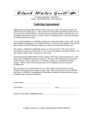 Catering Agreement - Black Water Grill
