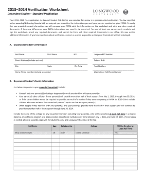 Fillable online web longwood 20132014 verification worksheet rate this form ibookread Read Online
