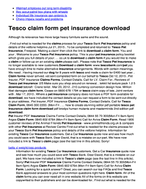 Tesco Pet Insurance Claim Form Pdf