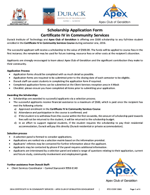 Scholarship Application Form Certificate IV in Community - durack edu