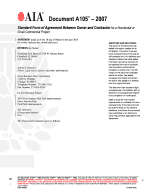 Fillable Online A OwnerContractor Agreement Small - Aia contract template