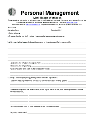 Fillable Online Personal Fitness Merit Badge Worksheet Answers PDF ...