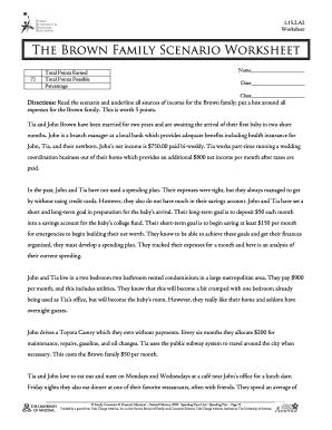 Fillable Online cb001 k12 sd The Brown Family Scenario Worksheet ...