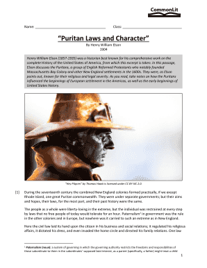 Puritan Laws And Character Answers Pdf - Fill Online ...