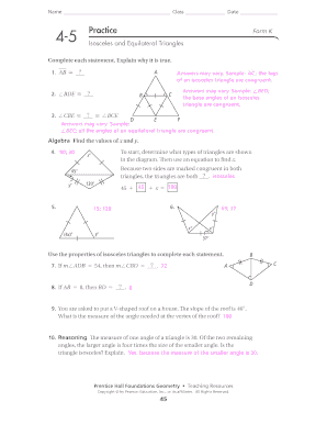 Printables Isosceles And Equilateral Triangles Worksheet 4 5 isosceles and equilateral triangles form k fill online practice g answer key