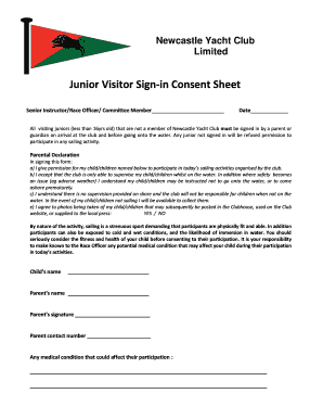 Junior Visitor Sign-in Consent Sheet