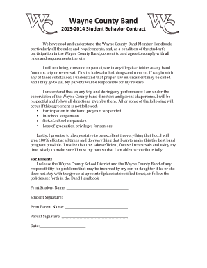 Student Behavior Contract 2013 - Wayne County Band Boosters