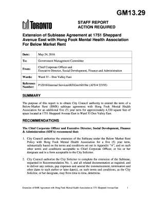 Fillable online toronto extension of sublease agreement at 1751 rate this form platinumwayz