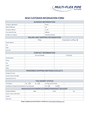NEW CUSTOMER INFORMATION FORM   Bmultiflexpipebbcomb  Customer Contact Information Form