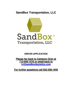 Sandbox Logistics - Fill Online, Printable, Fillable, Blank