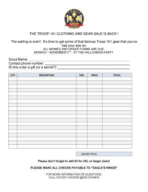 Printable clothing order form template - Edit, Fill Out