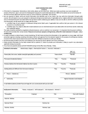 Client Information Form   Individual   Bondsisrael