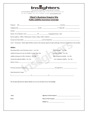 Fillable Online Clients Business Enquiry Slip - bInsightersb Fax