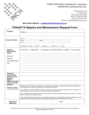TENANTS Repairs and Maintenance Request Form Fill Online, Printable