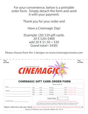 Gift Bcard Printableb Order Bformb 2017 Cinemagic